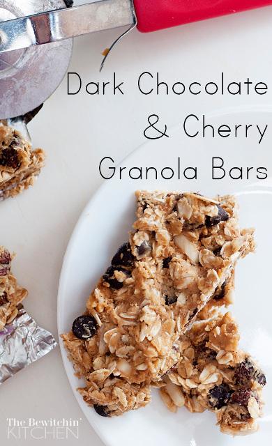 Dark Chocolate and Cherry Homemade Granola Bars