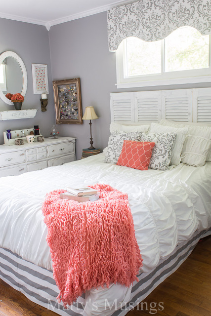 Gray and Coral Budget Bedroom Makeover