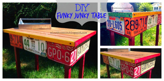 Funky Junky Table Upcycle - License Plate Table