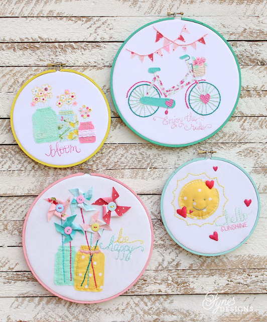 Summer Inspired Embroidery Hoop Art