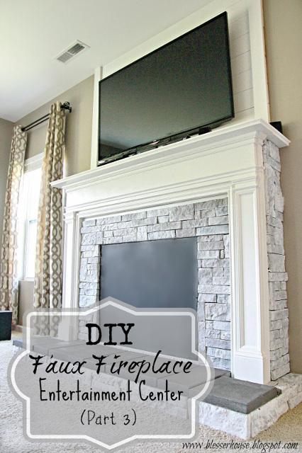 DIY Faux Fireplace Entertainment Center
