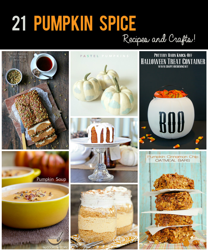 21 Pumpkin Spice Recipes and Crafts! A bunch of wonderful recipes to try and pumpkin crafts to create easily!