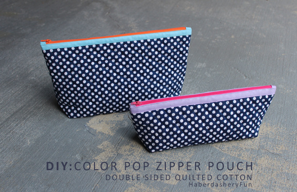 Quilted Color Pop Zipper Pouch - Tutorial