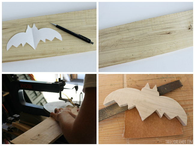 Trace your drawing onto the piece of wood and use a scroll saw to cut it out.