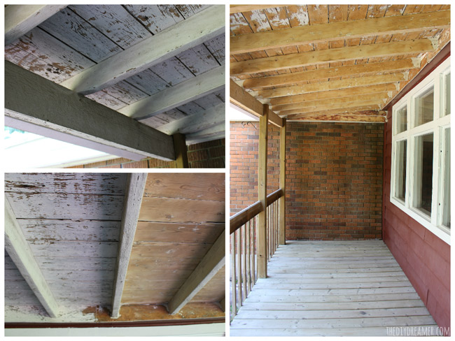 Porch ceiling before and after removing old paint.