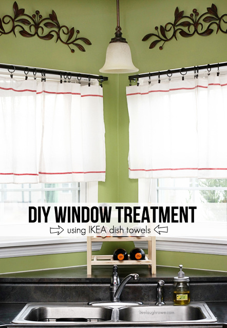 DIY Window Treatment using Ikea dish towels