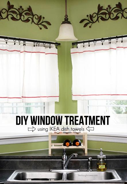 DIY Window Treatment using Ikea dish towels