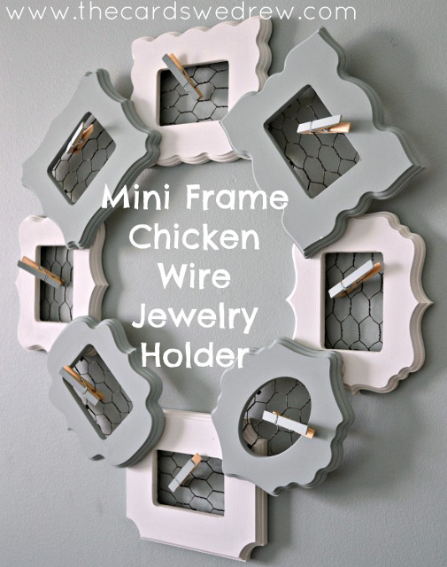 Mini Frame Chicken Wire Jewelry Holder