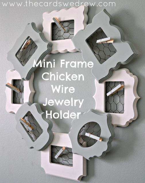 Mini Frame Chicken Wire Jewelry Holder