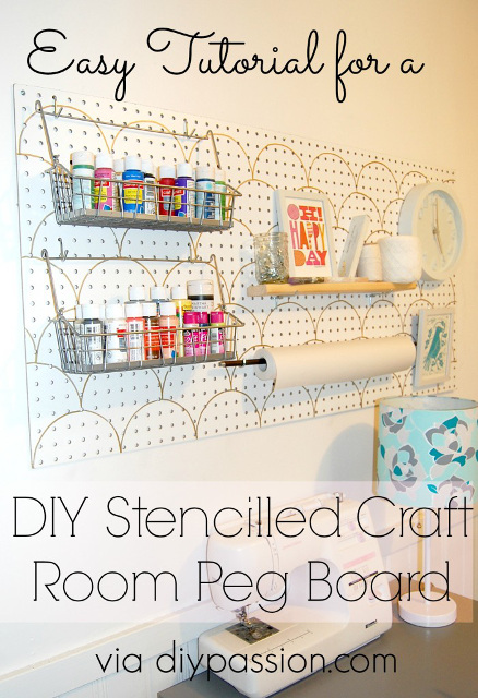 DIY Stenciled Peg Board