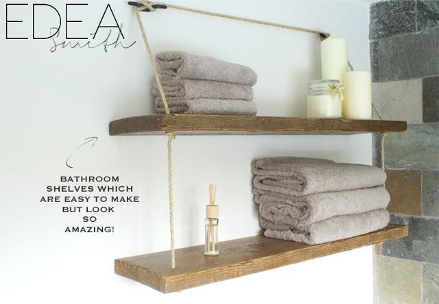 Reclaimed Wood Bathroom Shelves