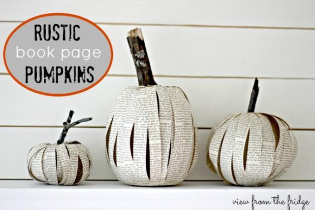 Rustic Book Page Pumpkins
