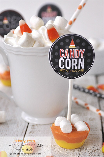 Candy Corn Hot Chocolate on a Stick - Hot Chocolate Stirrer