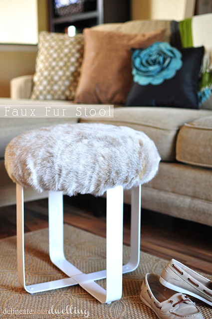DIY Faux Fur Stool. Beautiful piece of furniture.