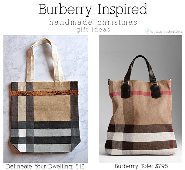 Burberry Inspired Canvas Tote Bag