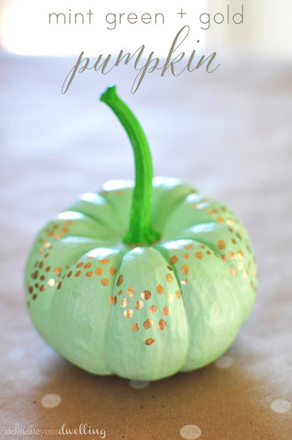 No Carve Mint Green and Gold Pumpkin