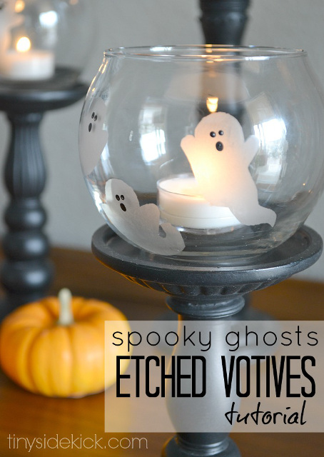 Spooky Ghosts Etched Votives