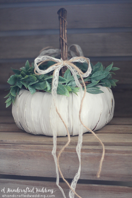 White Pumpkin Flower Girl Basket