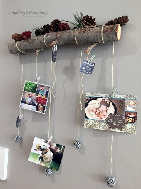 Rustic Log Holiday Card Display