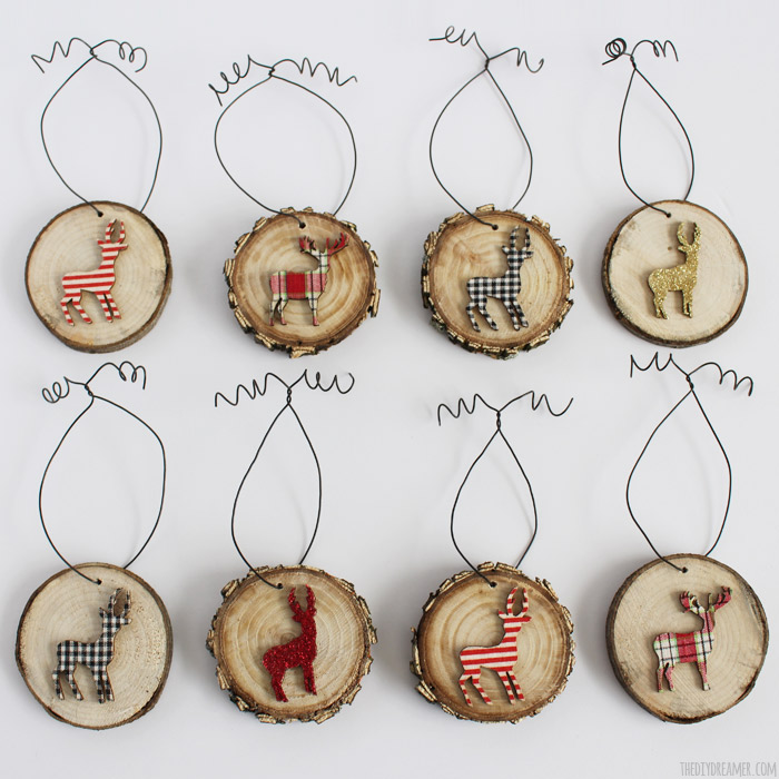 Deer Wood Slice Ornaments – Rustic Christmas