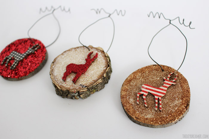 Glitter Wood Slice Ornaments - Kid Craft!
