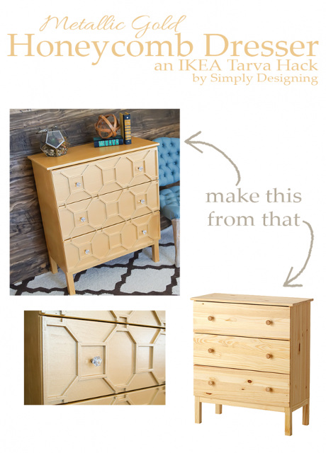 Metallic Gold Honeycomb Dresser