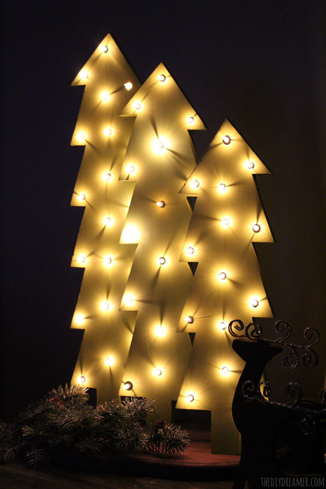 Marquee Wooden Christmas Trees. Perfect for indoor or outdoor Christmas decor!