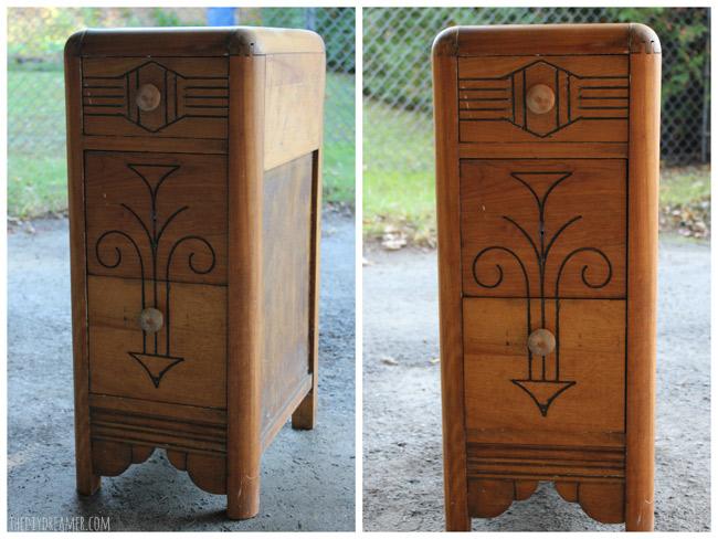 Vintage wood nightstand