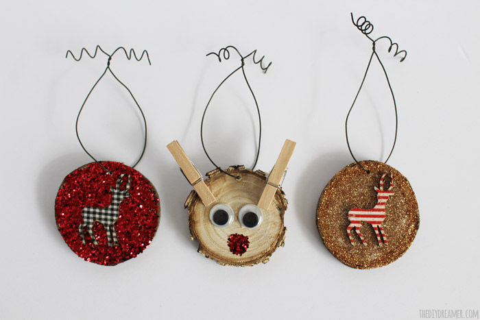 Wood Slice Ornaments - Kid Crafts! Oh so cute Ornaments made by a kid!