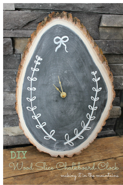 Wood Slice Chalkboard Clock