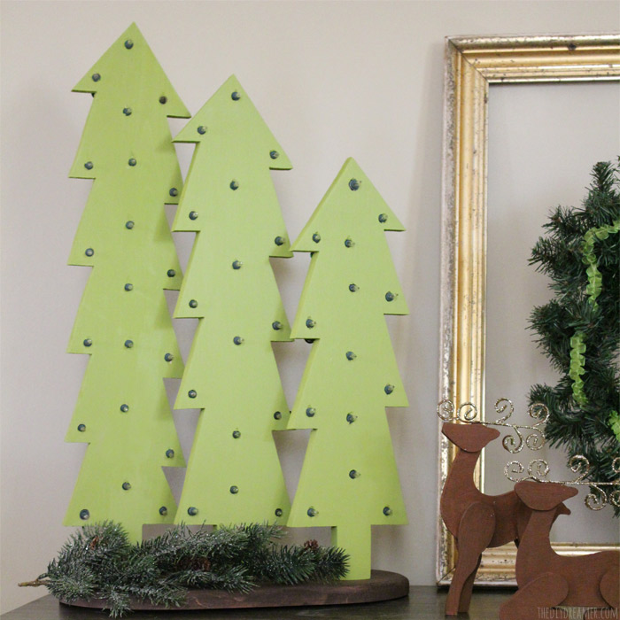 wooden christmas trees with lights rustic christmas - Wooden Christmas Trees