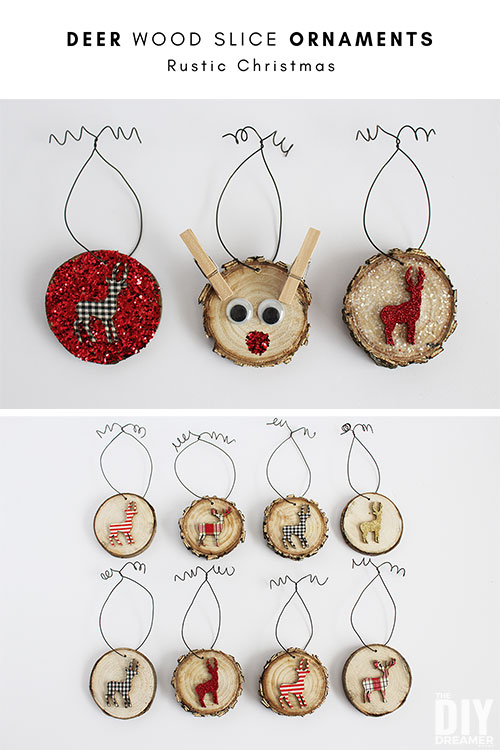 Deer Wood Slice Ornaments. Adds a beautiful touch to your Rustic Themed Christmas Decor! Easy to make Christmas craft.