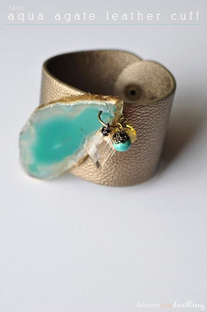Faux Aqua Agate Leather Cuff Bracelet