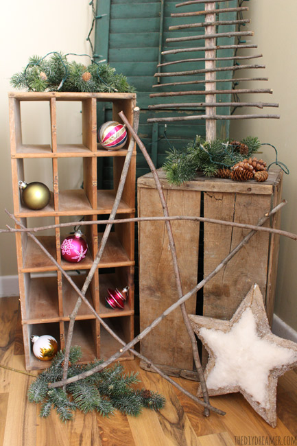 Giant Rustic Star made from branches! Perfect touch to Rustic Christmas decor!