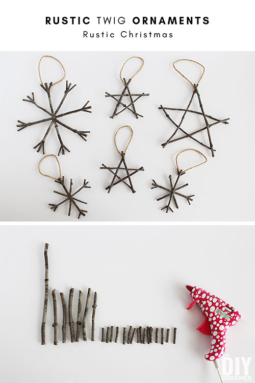 Rustic Twig Ornaments - Christmas ornaments that are super easy to make.