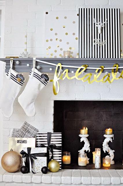 Black, White & Gold Holiday Living Room