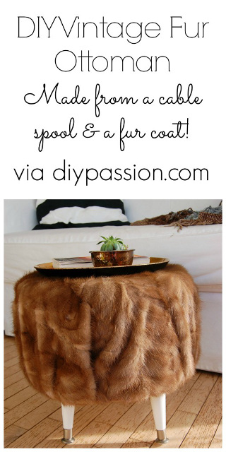 DIY Vintage Fur Ottoman using a thrift store fur coat.