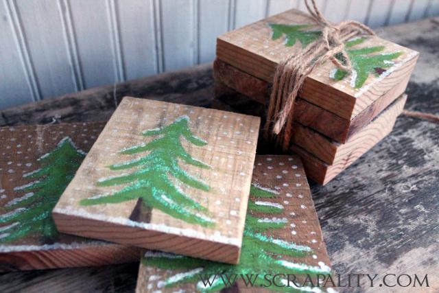 Pallet Wood Rustic Christmas Coasters