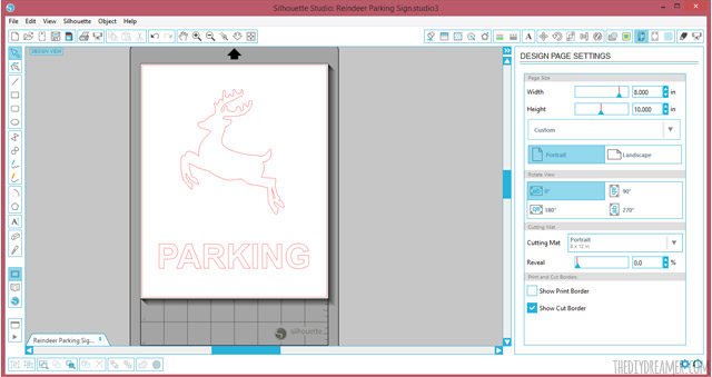 Designing a Reindeer Parking Sign with Silhouette Studio.