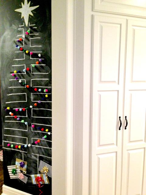 Chalkboard Tree with Pom Garland
