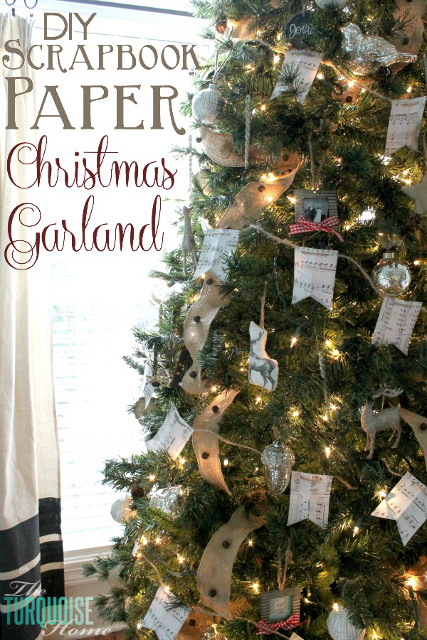 DIY Scrapbook Paper Christmas Garland
