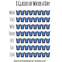 Drink 8 Glasses of Water a Day. Free Printable to help you keep track of the water you drink each day of the week.