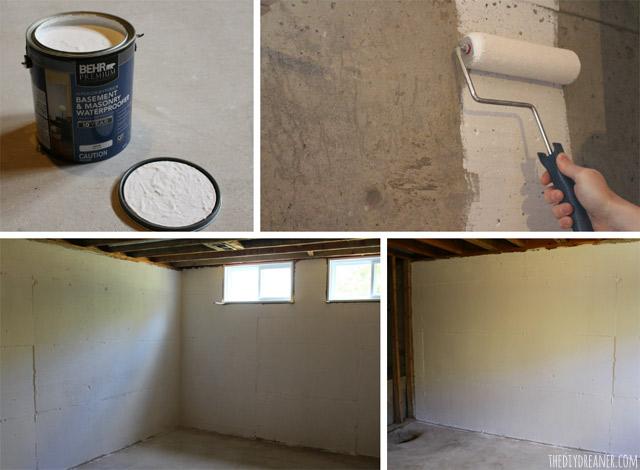 Waterproofing concrete basement walls.
