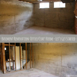 Basement Renovation - Let's get started. First step, apply a basement waterproofing paint on the concrete walls, like BEHR Basement and Masonry Waterproofer.
