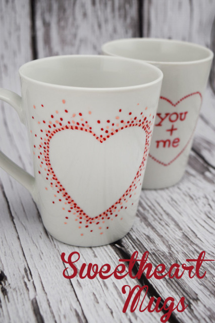 Simple Sweetheart Painted Coffee Mugs