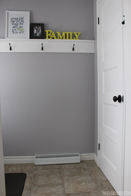 Small Entryway Makeover and Decorative Shelf with Hooks.