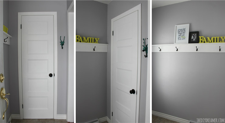 Small Foyer Makeovers : Small entryway makeover and decorative shelf with hooks