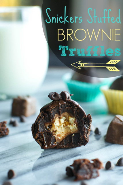 Snickers-Stuffed Brownie Truffles