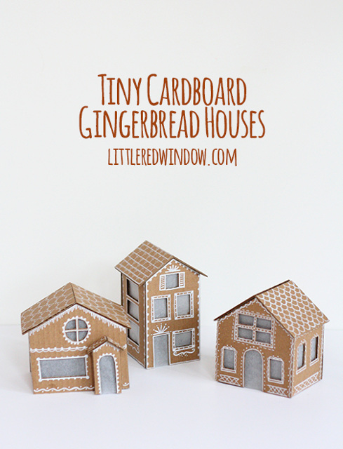 Tiny Cardboard Gingerbread Houses