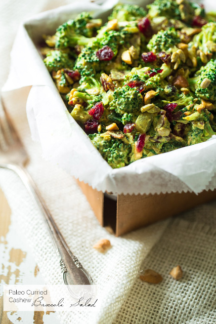 Healthy Broccoli Salad with Cashew Curry Dressing